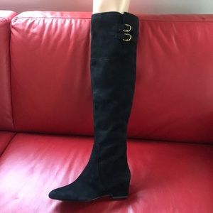 7,5 New over the knee real leather boots black